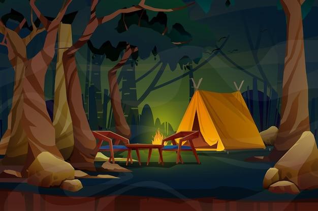Cena noturna com barraca em um prado verde com fogueira