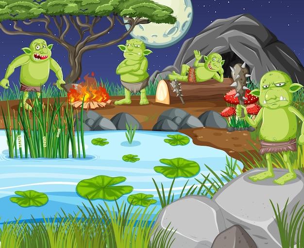 Cena noturna com personagem de desenho animado goblin ou troll
