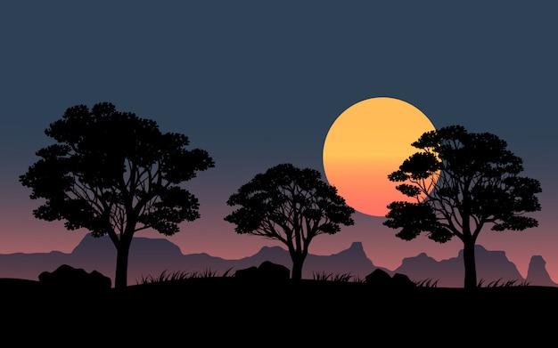 Cena noturna com silhueta de árvores e grande lua cheia
