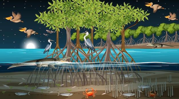 Cena noturna de floresta de mangue com muitos animais diferentes