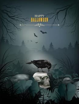 Cena noturna de halloween com caveira
