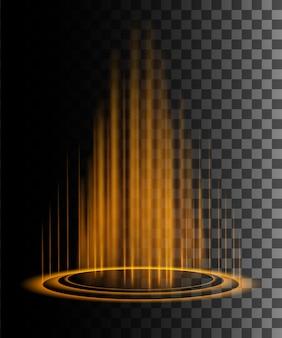 Cena noturna de raios de brilho laranja redondo com faíscas em fundo transparente