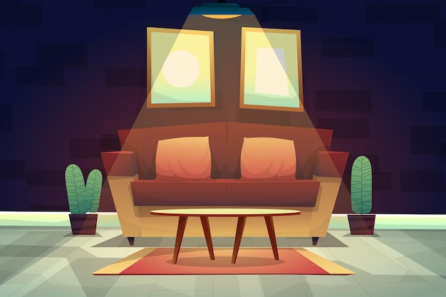 Cena noturna de sofá com almofadas e mesa de centro no tapete sob a iluminação do teto em casa