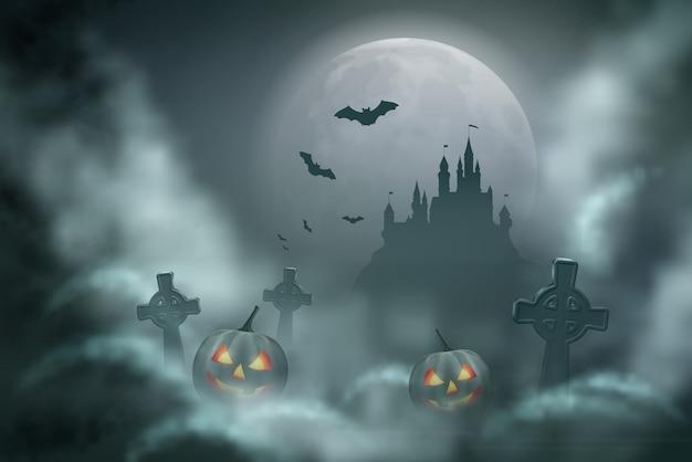 Cena noturna de vetor de halloween com lua cheia em uma noite nublada
