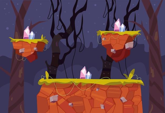 Cena noturna de videogame na floresta