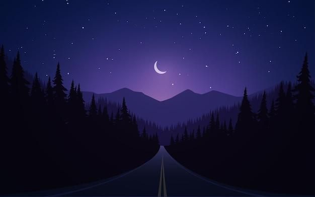Cena noturna em uma estrada vazia com floresta e montanha