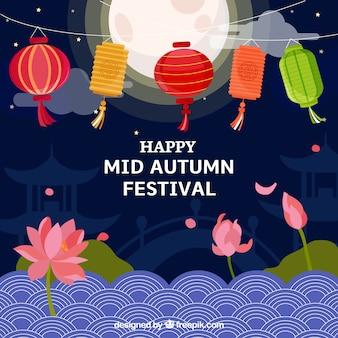 Cena noturna sobre festival do meio do outono