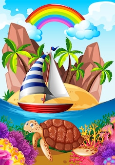 Cena oceano, com, tartaruga, submarinas