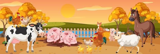 Cena panorâmica de paisagem com vários animais da fazenda