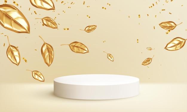 Cena para comercial de produto com folhas douradas outonais. design moderno 3d realista do pódio do produto. cenário de venda de outono. ilustração vetorial