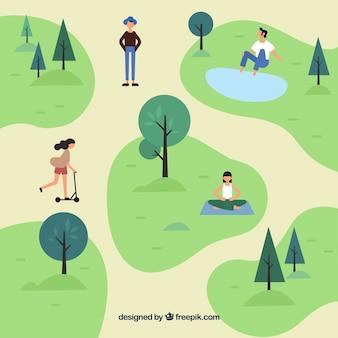 Cena plana de pessoas fazendo atividades no parque