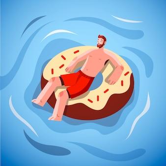 Cena plana de verão com homem ilustrado
