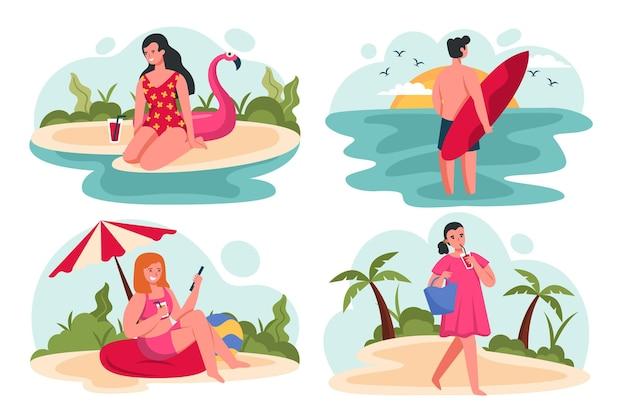 Cena plana de verão com pessoas fazendo atividades