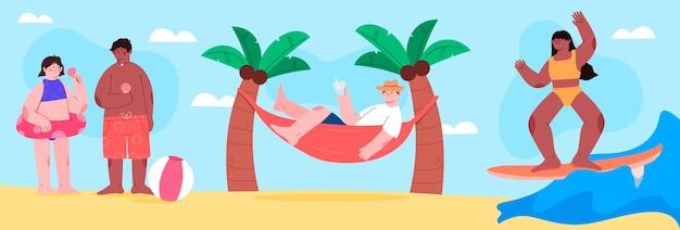 Cena plana de verão com praia