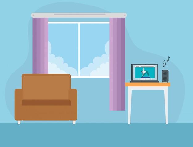 Cena, sala, lugar, com, sofá, ilustração, desenho