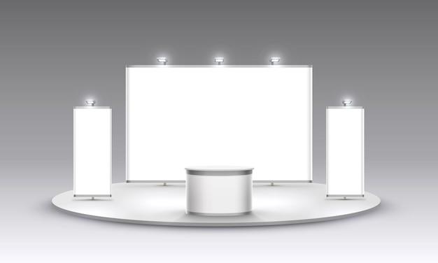 Cena show pódio para apresentações em fundo branco. ilustração vetorial