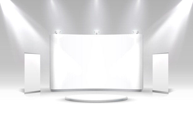 Cena show pódio para apresentações no fundo cinza. ilustração vetorial
