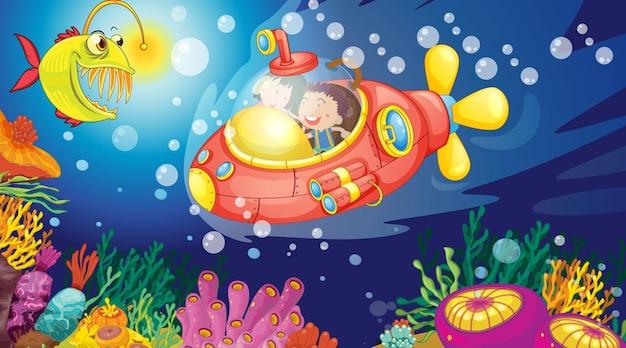 Cena subaquática com crianças felizes em um submarino explorando o submarino