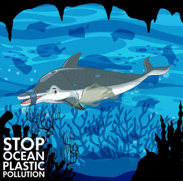 Cena subaquática com golfinhos e sacos de plástico