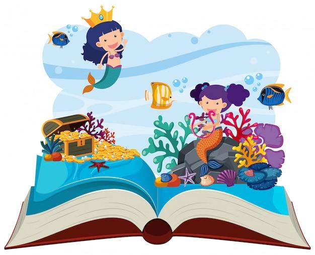 Cena subaquática com sereias pop up livro