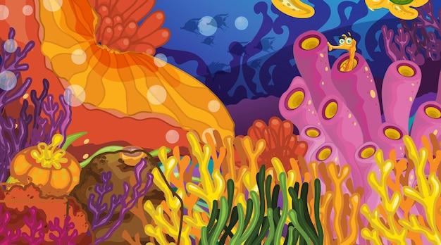 Cena subaquática com vários recifes de corais tropicais
