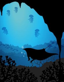 Cena submarina de silhueta com arraia