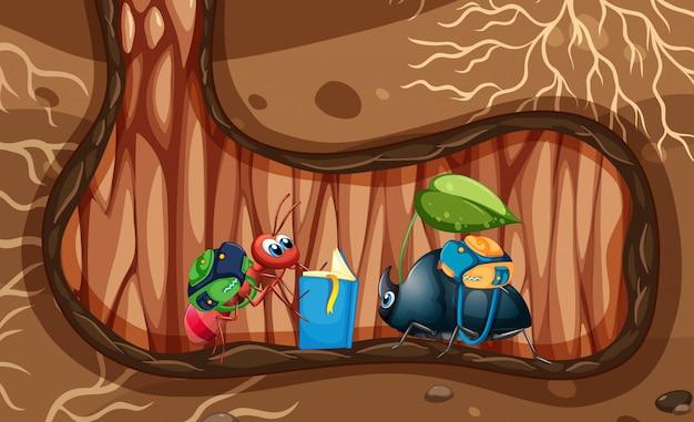 Cena subterrânea com formiga e besouro no buraco