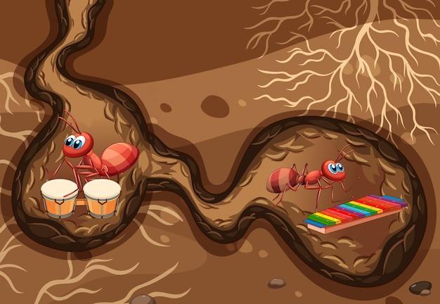 Cena subterrânea com formigas tocando música no buraco