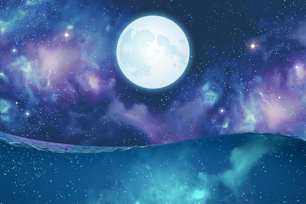 Cena surreal da super lua prateada pairando sobre a água no misterioso fundo do cosmos