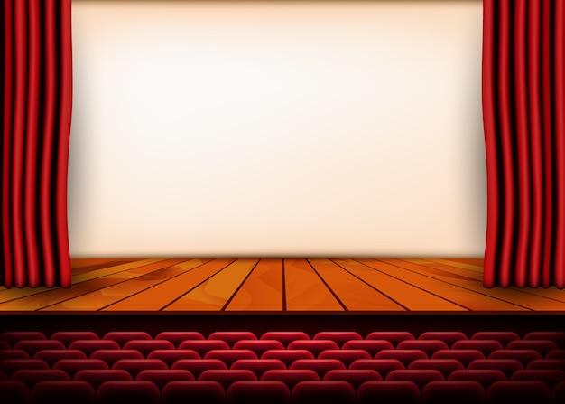 Cena teatral com cortinas vermelhas e piso de madeira.