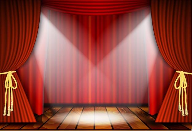 Cena teatral com cortinas vermelhas