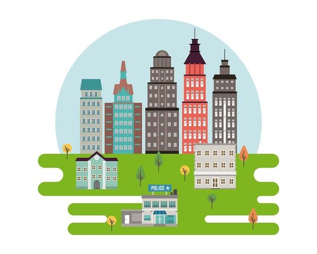 Cena urbana da cidade da metrópole com arranha-céus e ilustração da delegacia de polícia