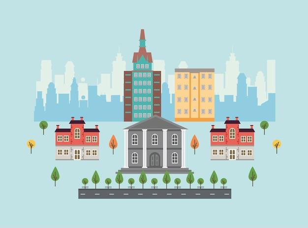 Cena urbana de megalópole com ilustração de prédio governamental