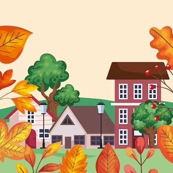 Cena urbana de outono