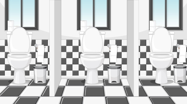 Cena vazia com banheiro público com cubículos