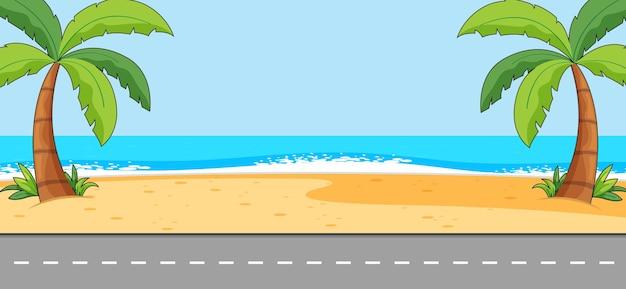Cena vazia com paisagem de praia e longa rua