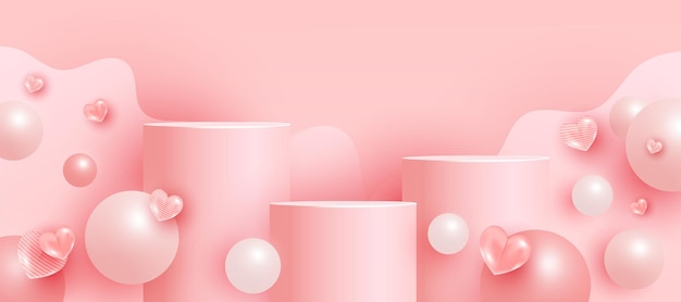 Cena vazia com pódios, pedestais ou plataformas, formas de bolhas. cena mínima com formas geométricas para apresentação do produto.