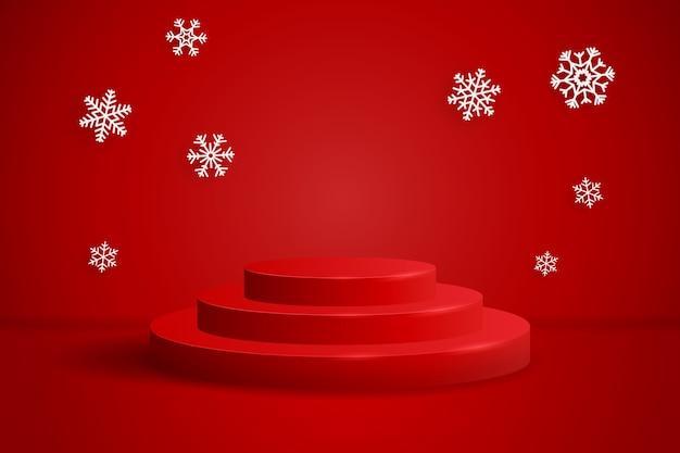 Cena vermelha de natal com pódios redondos e flocos de neve para exposição de produtos