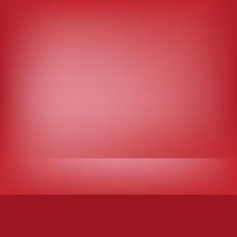 Cena vermelha em branco do estúdio para exposição do produto com iluminação do palco vazio para o fundo da apresentação