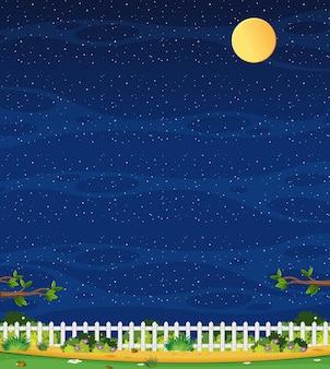 Cena vertical da natureza ou paisagem rural com vista da fazenda e céu vazio à noite