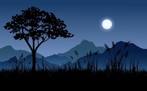 Cenário bonito da noite com silhueta da lua, da montanha e da árvore