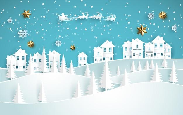 Cenário bonito do inverno em um monte nevado com uma casa. design de arte de papel