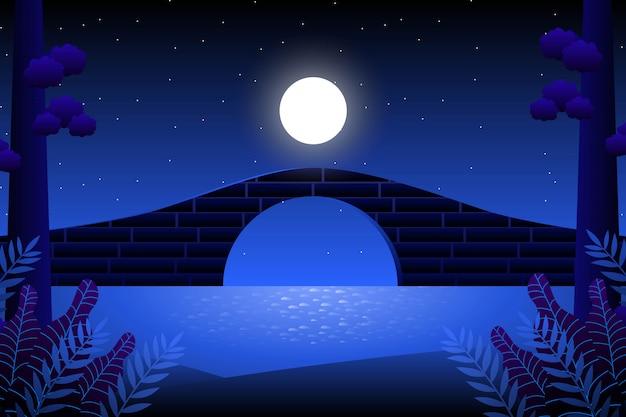 Cenário céu azul e mar com noite estrelada