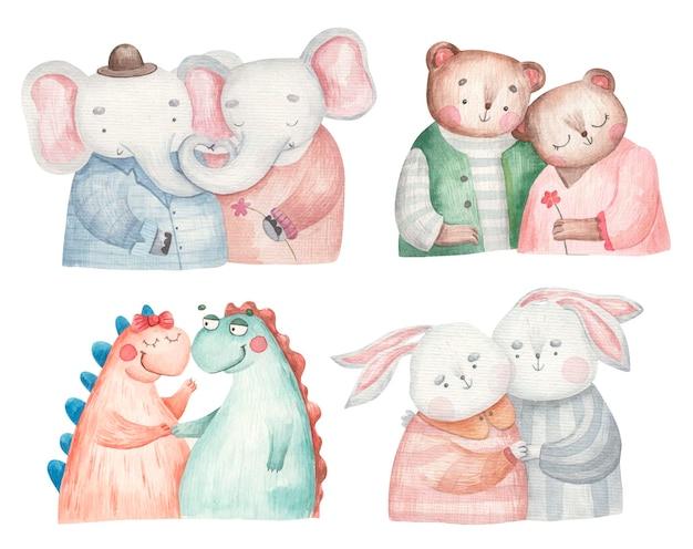 Cenário com animais apaixonados, dinossauros, ursos, lebres, elefantes