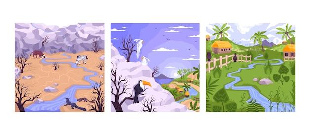 Cenário com três composições quadradas de paisagens