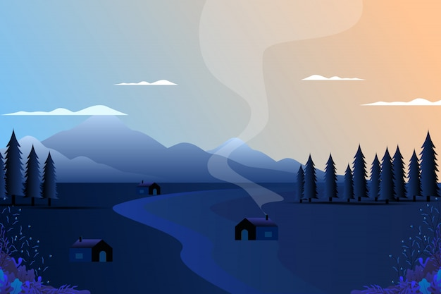 Cenário da aldeia com a montanha e o céu
