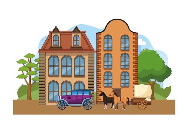 Cenário da cidade ocidental com edifícios clássicos, carro e transporte de cavalos sobre branco