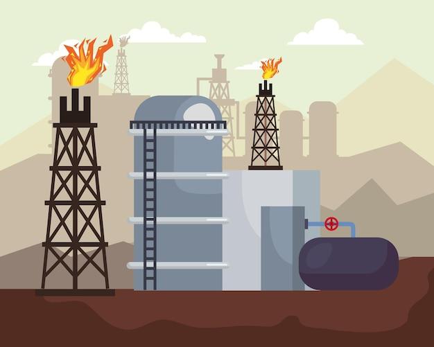 Cenário da fábrica de fracking