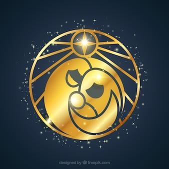 Cenário da natividade dourada