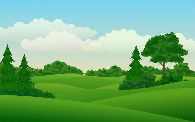 Cenário da natureza com campo e floresta